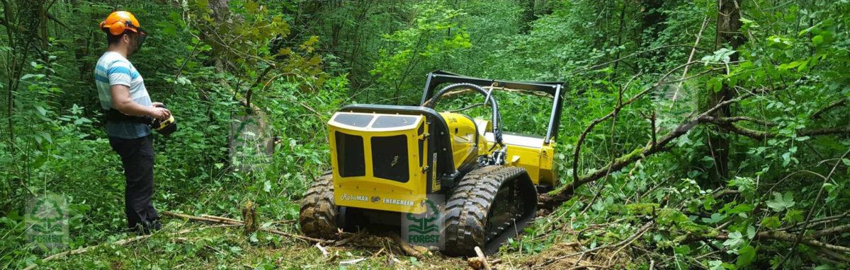 Energreen RoboMAX karczowanie zarośli i krzaków przez pracownika w lesie